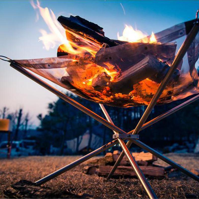 डेरा डाले हुए तह स्टोव लकड़ी आग फ्रेम स्टैंड जलने ग्रिल स्टेनलेस स्टील जाल