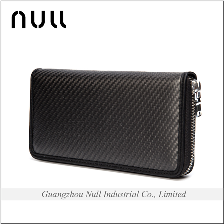 Famous brand name low MOQ big capacity men style carbon fibre wholesale cell phone wallet