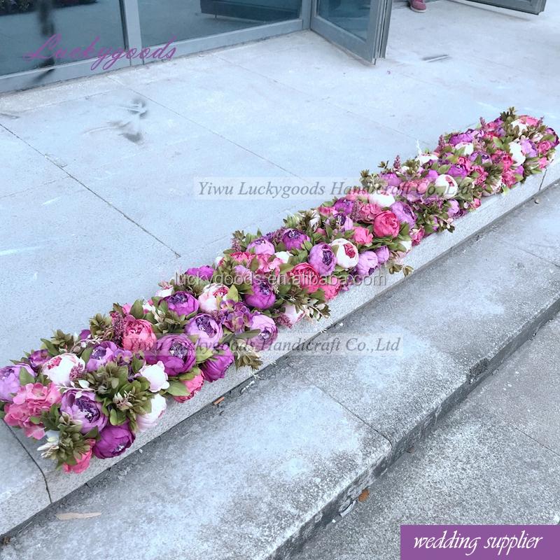 Lfb724 Handmade Silk Wedding Flower Artificial Peony Table Runner