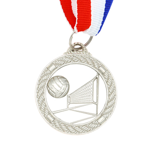 Cheap promotion metal 3D volleyball sports silver medal