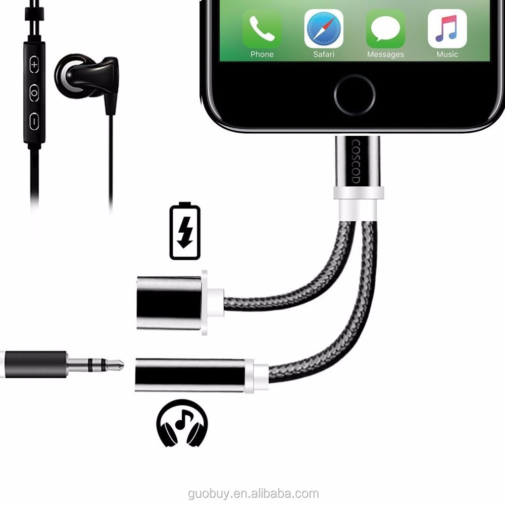 2in1 adapter Compatible with IOS 10.3/10.3.1 <strong>System</strong> For iPhone 7 Adapter and Charger Cable 3.5mm Headphone Jack Audio Adapter