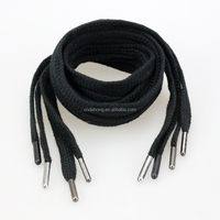 1CM Tubular Flat Black Cotton Draw Cord With Metal Ends For Hoodie