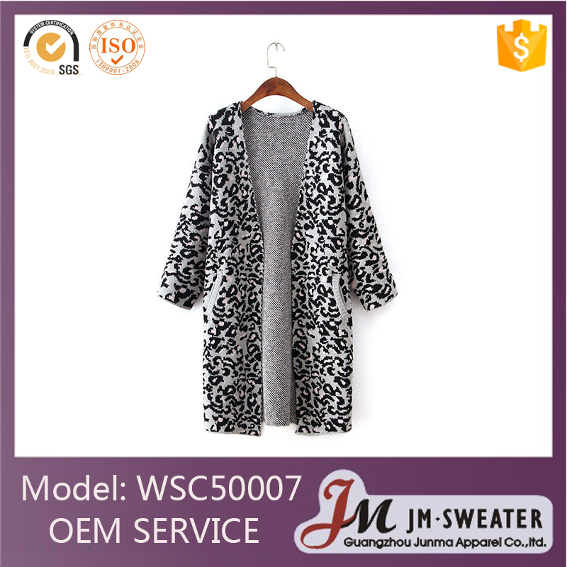 New design grey leopard printed long sleeve women cardigan with side pocket
