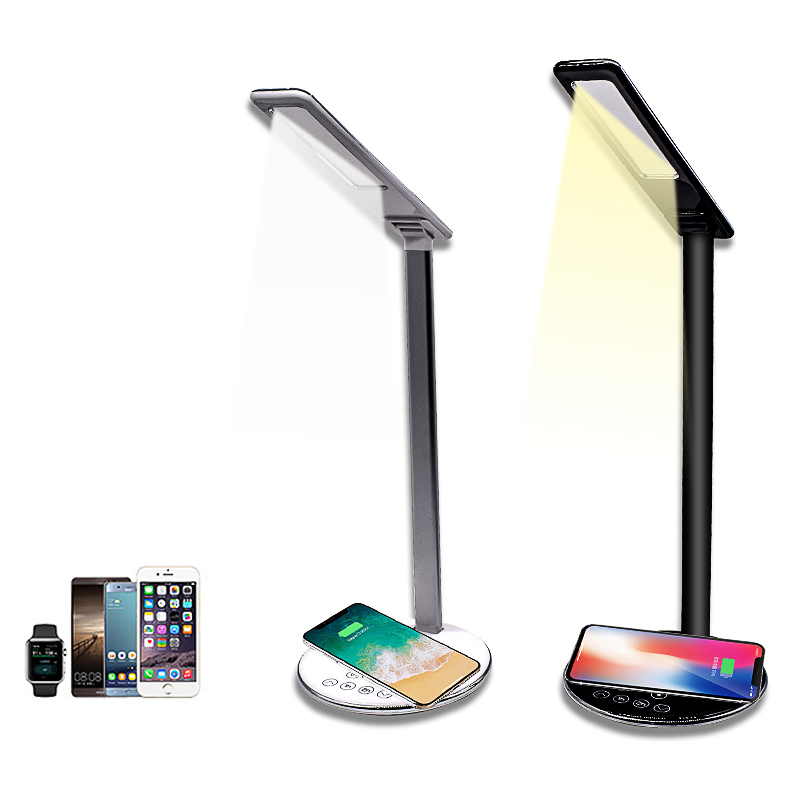 Multifunction Qi LED Lamp Table Desk Phone Wireless Charging Pad Cell Phone Charger Holder Stand Foldable Desktop Light, Black;white