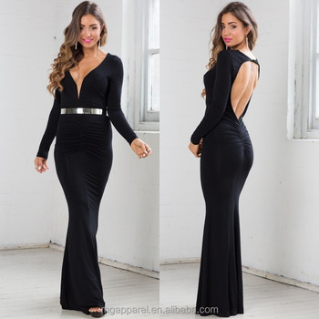 8d72014079359c long sleeve dress plunging neckline low cut back dress sexy black maxi dress