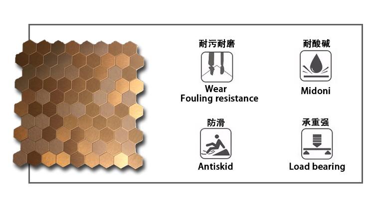 Bienenwaben-muster-aluminiummosaik-fliese Golden,Splitter