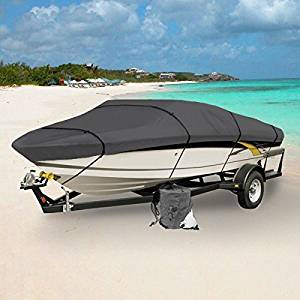 GRAY HEAVY DUTY WATERPROOF MOORING BOAT COVER FITS LENGTHS OF 12' - 22' SUPERIOR TRAILERABLE BOAT COVERS 600 DENIER V-HULL FISHING SKI BOAT RUNABOUT PRO BASS INBOARD OUTBOARD BOAT COVERS