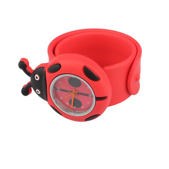 New Cartoon Watch Digital Slap Watch Cute Coccinella Septempunctata Slap Kids Watches Red