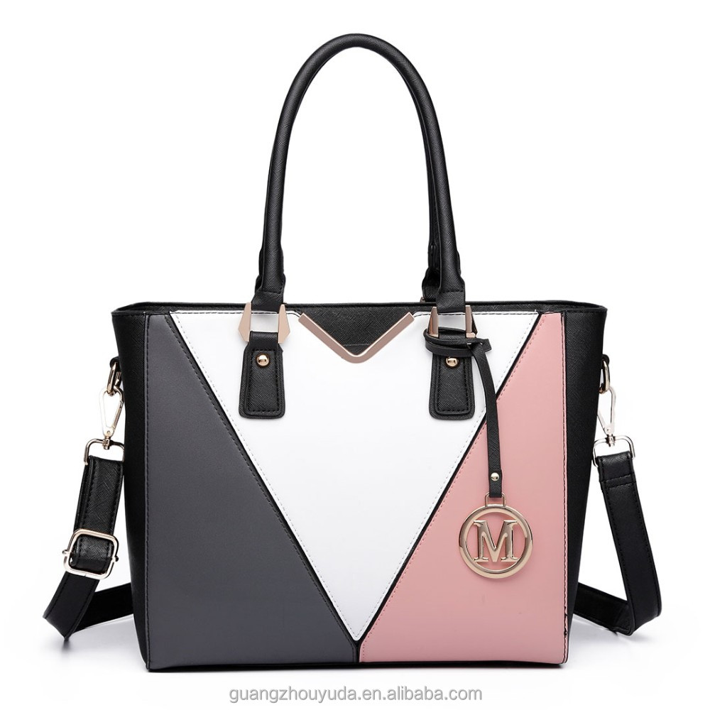 LG6632 PU LEATHER V-SHAPE MULTICOLOR SPLICING TOTE BAG HANDBAG GUANGZHOU BAG PU LEATHER HANDBAG MISS LULU BEST SELLER