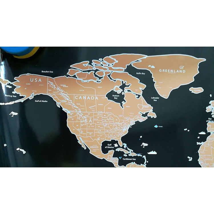 Most Popular package size 61*6.6cm black gold scratch world map