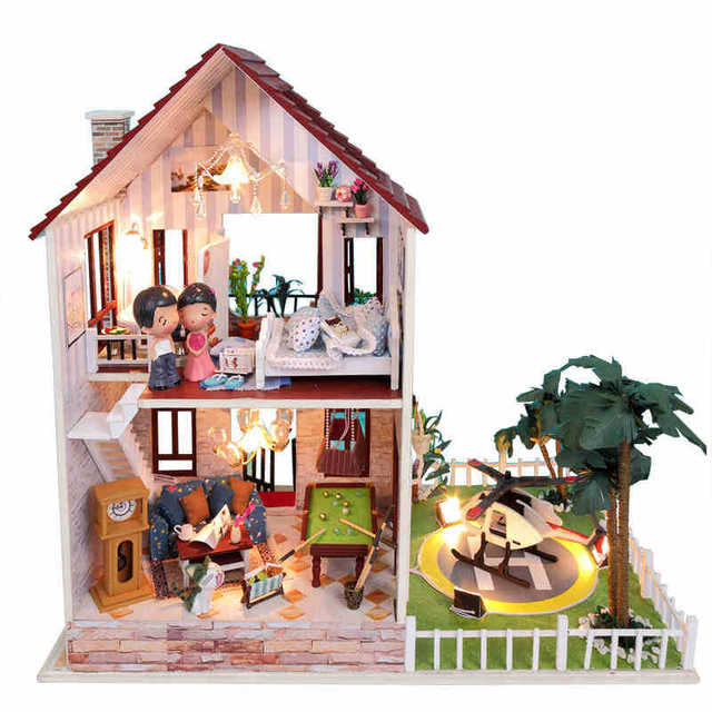 diy holz gro e puppenhaus miniatur m bel haus f r puppen modus baus tze puppenhaus spielzeug. Black Bedroom Furniture Sets. Home Design Ideas