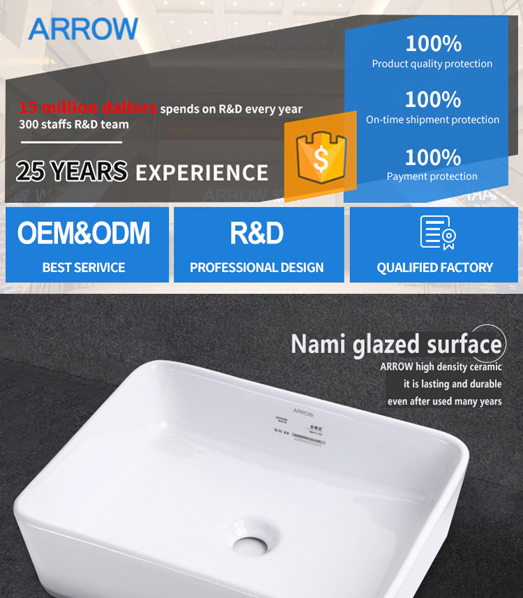 ARROW brand selling rectangular faucet shower water solid surface sink bathroom face hand wash ceramic basin