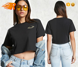 Planet Graphic Embroidered Cropped Tee