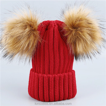 462373ab23f88 H95 Custom Women Double Pom Pom Beanie Hat Knit With Faux Fur Pompom Ears  Winter Soft