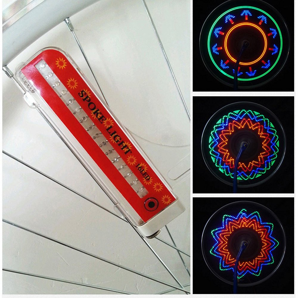 Baiyu Super Bright 16 LED Bike Bicycles Wheel Signal Lights Waterproof Colorful 32-pattern Cycling Wheel Tire Spoke Flash Light Steel Wire rim Lamp Bike Accessory