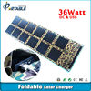 hot selling portable folding car solar panel for laptop/battery/phone for camping/travel 36W