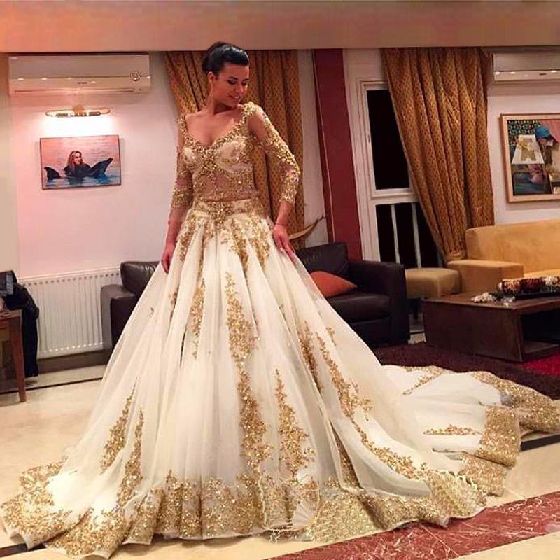 Fa104 Luxury Gold Lace And White Long Sleeve Ball Gown Wedding
