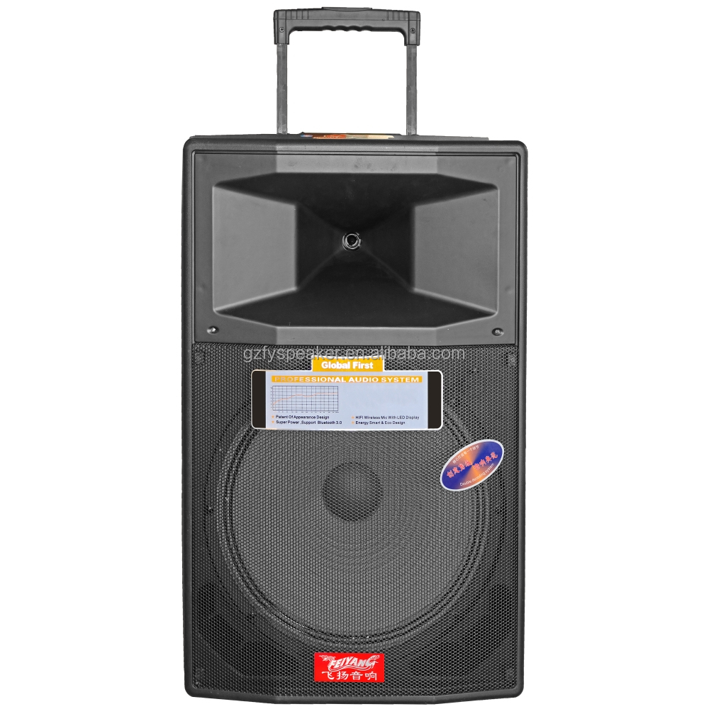 Feiyang speaker Temeisheng 5 core speaker india 3500 watt 15 inch F15-4 Omni-directional Wheel speaker cabinet with DC workable