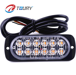 Surface Mount Amber/White 36W 12-LED Warning Emergency Flashing Strobe led Light Bar 12V-24V