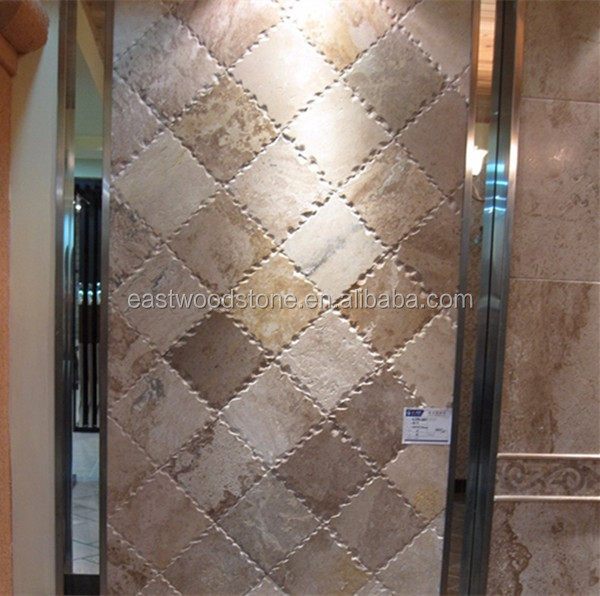 mixed color stone mosaic pattern travertine tile for wall cladding
