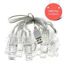 Держатель для фото, светодиодные гирлянды на батарейках/USB 1 м, 4 м, 10 м, рождественские, новогодние, вечерние, свадебные, украшения для дома, ск...(Китай)