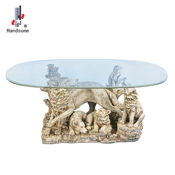 48 Pouces Table à Manger Design Loup Verre Tableau Animal Table