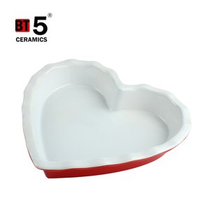 Unique smooth lines microwave oven ceramic heart shaped plates for sale
