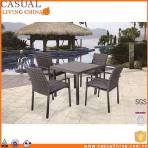 Modern famous design 5 Piece dining set poly rattan furniture table and chair