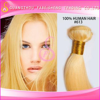 High Fashion Golden Virgin Human Hair Extensions 613 Blonde Straight