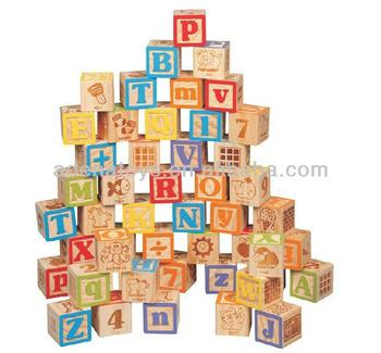 Wooden Kids Educational Diy Building Block 50pcs Wooden Carved ...