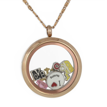 High Quality Material & Rose Gold Plating Fashion Round glass memory floating stainless steel locket pendant