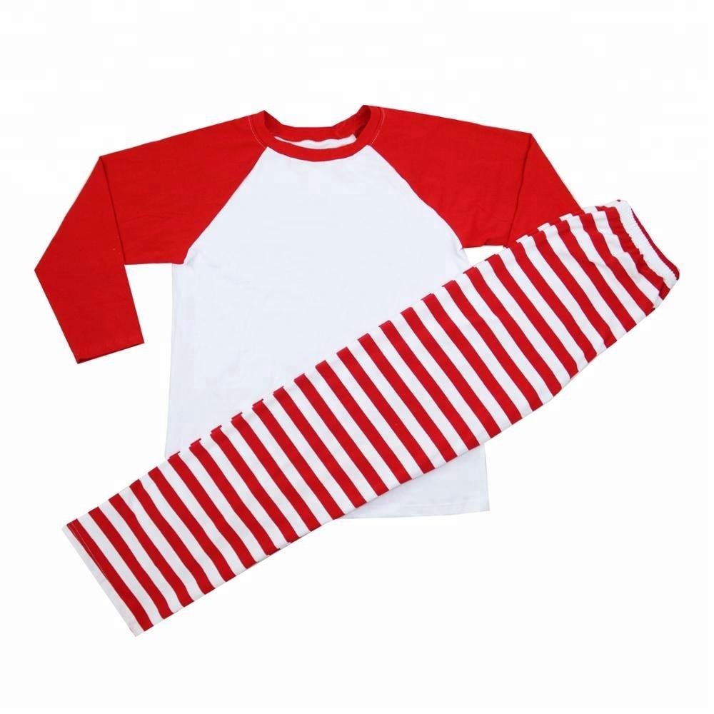 100% cotton unisex boys girls raglan red white stripe boutique clothes Christmas pajamas фото