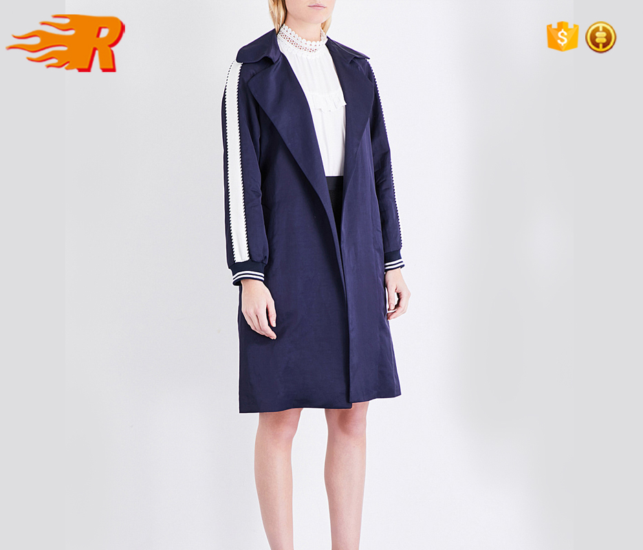 Urban Fashion Satin-Striped Single-Breasted Trench Coat Women