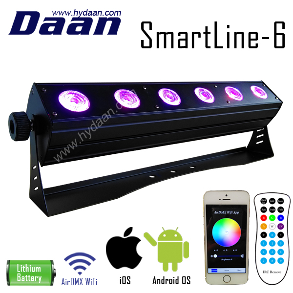 DJ Slim Bar 6in1 RGBWAUV Rechargeable Wifi Phone IOS Android App Wireless DMX Battery Powered LED Bar Light
