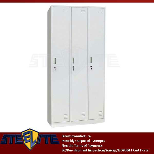 2013 popular wide 3 door cheap wardrobe school dormitory locker cabinets/white steel godrej cupboard clothes almirah designs