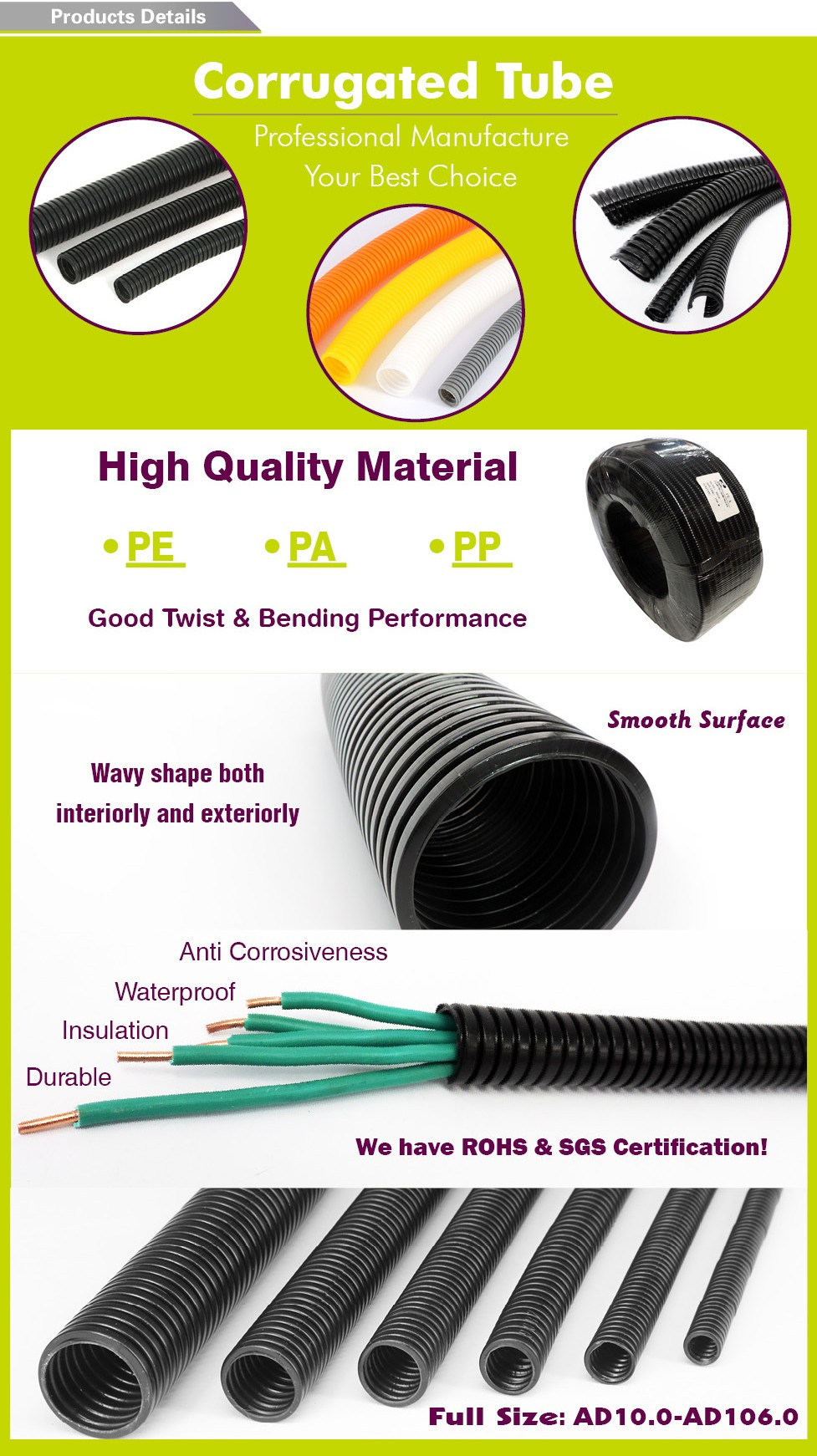 High quality PA Double Flexible Cable Hose