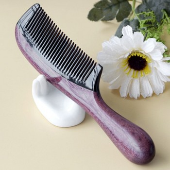 Hair Accessories Horn Comb Wooden Comb Handle Handmade Sandalwood Fine Tooth Curly Hair Comb