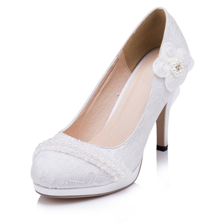 British Style Silk Women Wedding Shoes Ivory Pointed Toe High Quality Women Party Shoes Lace  EU33-41 6010