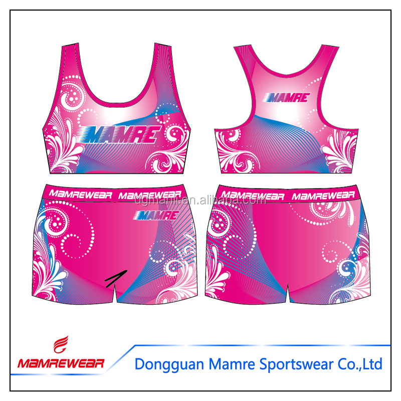 Hot latest design wholesale sublimated Cheerleader Uniforms , plus size customized cheerleading practice wear bra and shorts