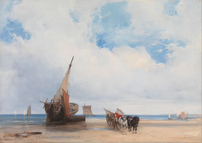 Canvas Art Prints Wall Decor Giclee Oil Painting Richard Parkes Bonington - Beached Vessels Wagon Near Trouville France