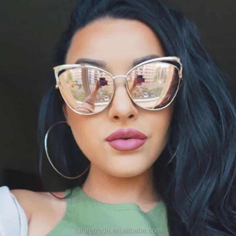 Customize Cateye Women Brand Designer Twin-Beam Mirror Sun Glass Vintage Female Oculos de sol Sunglasses UV400 фото