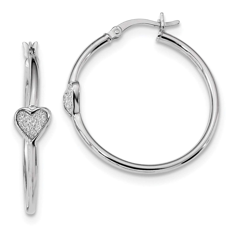 84c3035a4 Get Quotations .925 Sterling Silver Rhodium-plated w/Enamel Glitter Heart Hoop  Earrings .
