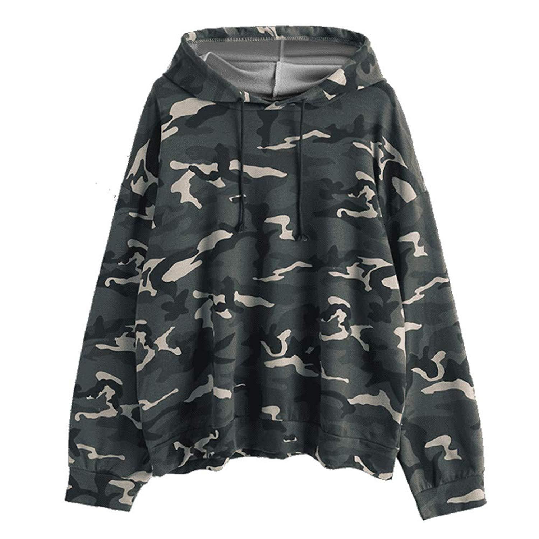 Clearance!Women Long Sleeve Camouflage Hoodie Sweatshirt Cuekondy Casual Loose Drawstring Pullover Jumper Blouse
