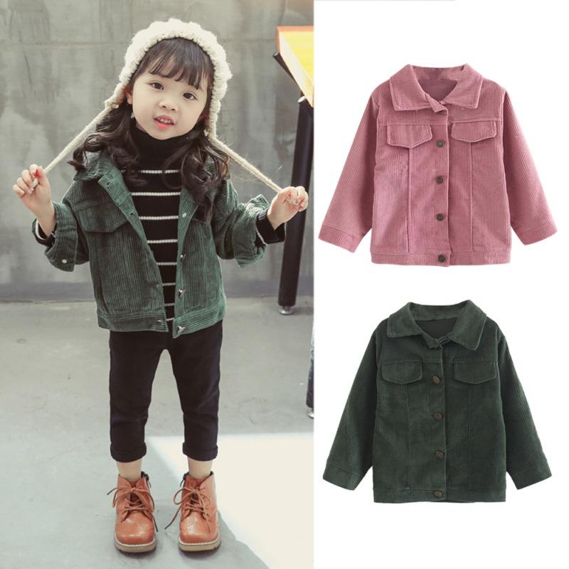 dbd8bbf7e Kids Girls Autumn Corduroy Jackets Long Sleeve Pink Green Cool Warm ...