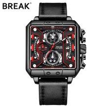 Мужские Роскошные модные наручные часы BREAK, многофункциональные повседневные Кварцевые спортивные часы с хронографом, водонепроницаемые ч...(Китай)