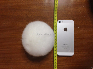 New Arrival Good Price 10cm Rabbit Fur Pompom/Ball Keychains For Decoration Cell Phone