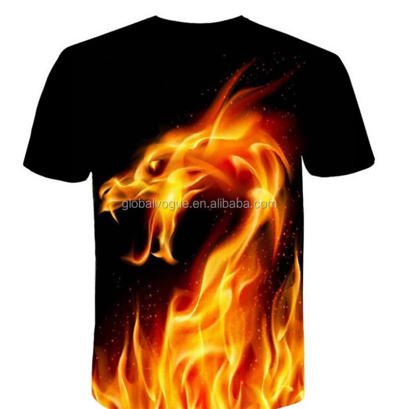 Red Fire Dragon Print Fashion Men's Casual Short Sleeve
