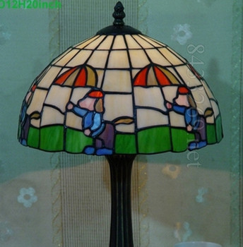 12 Inch Tiffany Style Stained Glass Table Lamp With Cartoon Design