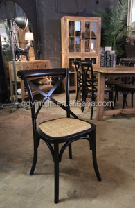 bistro solid wood rattan seat x cross back dining chair