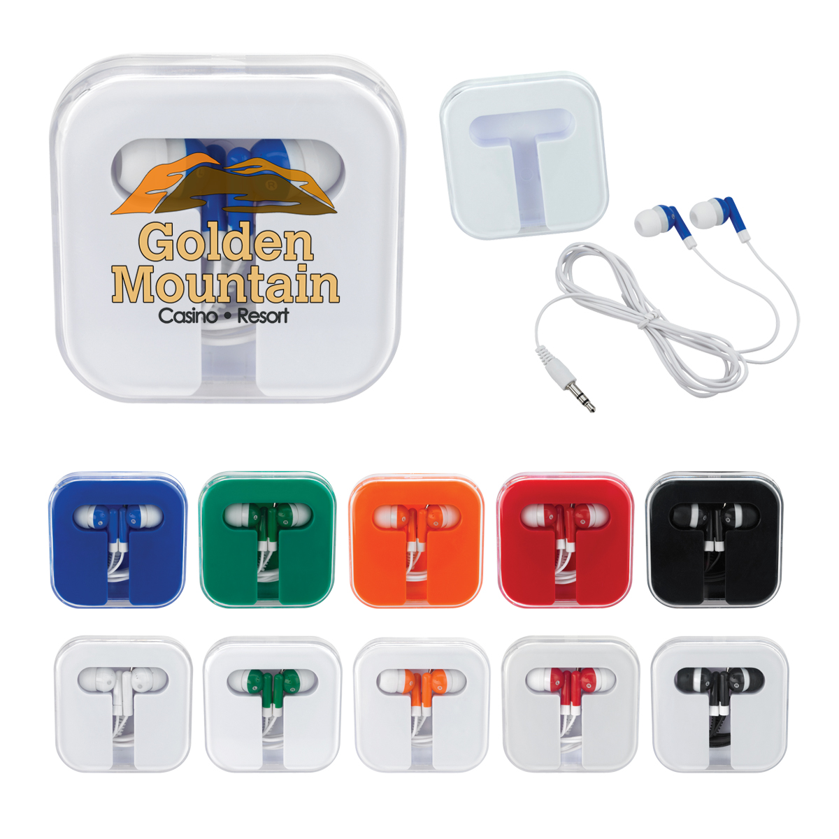 Baru Giveaway Mini Lucu 1.2 Meter Garis 3.5 Mm Plug In-Ear Ponsel Earbud dengan Transparan ABS Plastik Segitiga Earphone Case